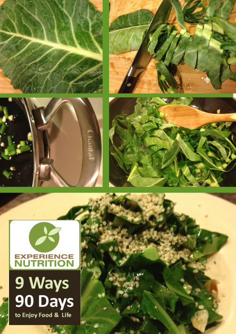 9 Ways 90 Days Collard Stir-fry with Hemp Seeds