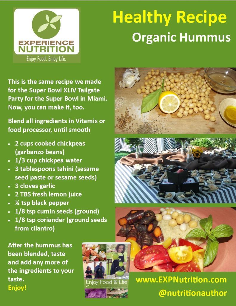 EXPERIENCE NUTRITION Organic Hummus Recipe