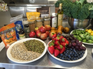 Fruit, nuts & seeds for the raw kale salad