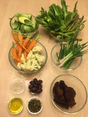 Mise en place for veggie stir-fry